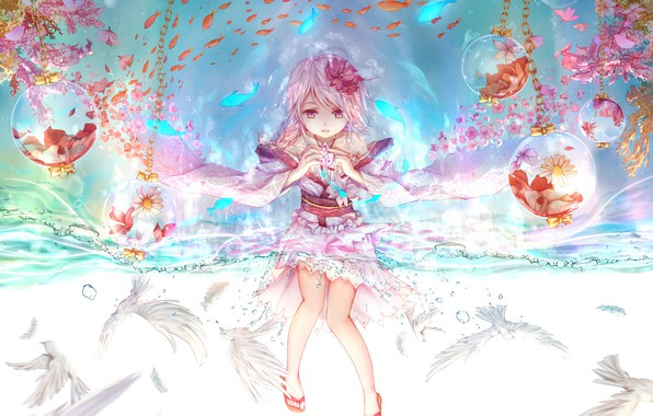Photo wallpaper girl, decoration, anime, art