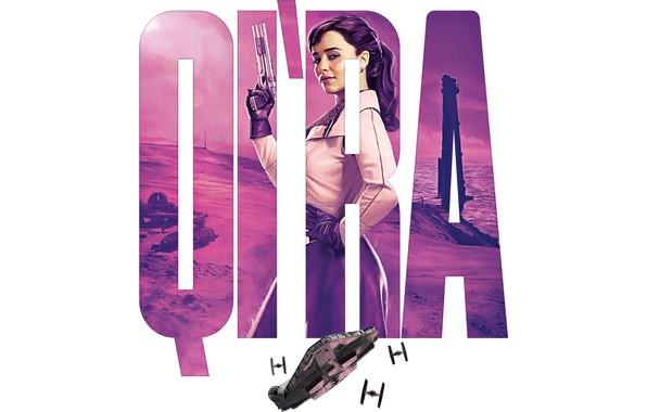 Picture Star Wars, gun, weapon, science fiction, sci-fi, movie, Emilia Clarke, film, spaceships, actress, white background, …