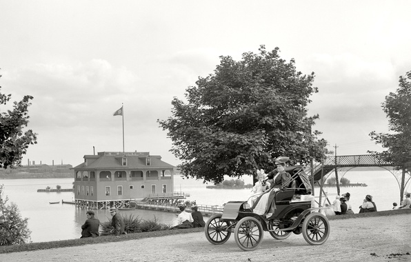 Picture landscape, house, retro, ladies, Ford, USA, car