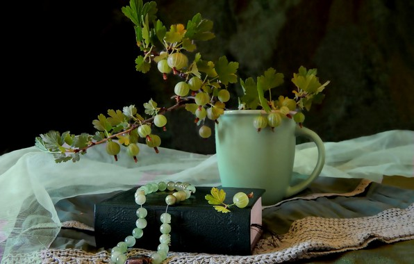 Picture Cup, beads, book, gooseberry