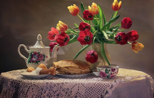 Picture flowers, table, background, tea, bouquet, kettle, plate, Cup, tulips, vase, still life, pancakes, saucer, tablecloth, …