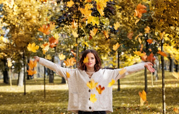 Picture autumn, leaves, girl, Park, background, model, yellow