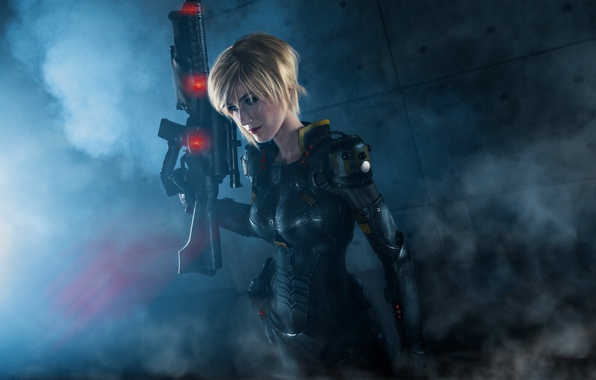 Picture pistol, soldier, armor, bodysuit, smoke, military, weapon, big, cosplay, blonde, rifle, suit, oppai, Wreck-It Ralph, …