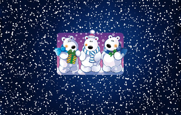 Picture Winter, Minimalism, Snow, Three, Background, New year, Bears, Holiday, Mood