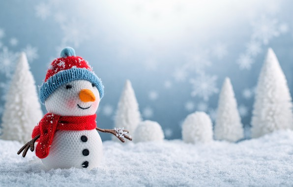 Picture winter, snow, New Year, Christmas, snowman, Christmas, winter, snow, Merry Christmas, Xmas, snowman, decoration