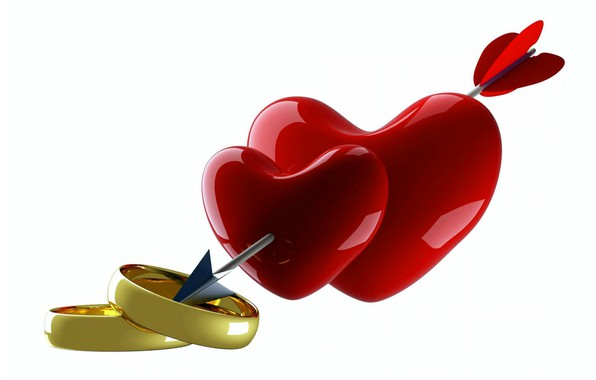 Picture rendering, heart, ring, arrow, heart, Valentine's Day
