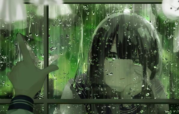 Picture girl, drops, rain, doll