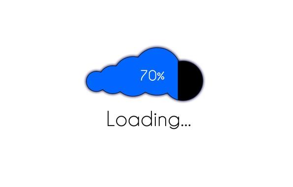 Picture minimalism, computer, cloud, Loading, digital art, artwork, white background, simple background, set, 70%