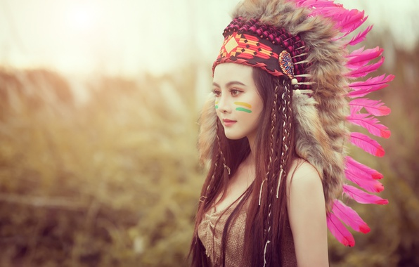 Picture face, style, model, hair, feathers, paint