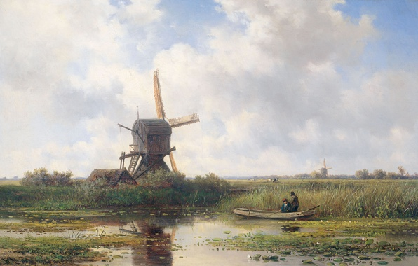 Picture landscape, boat, oil, picture, canvas, windmill, Willem Roelofs, Abcoude is a village on the River …