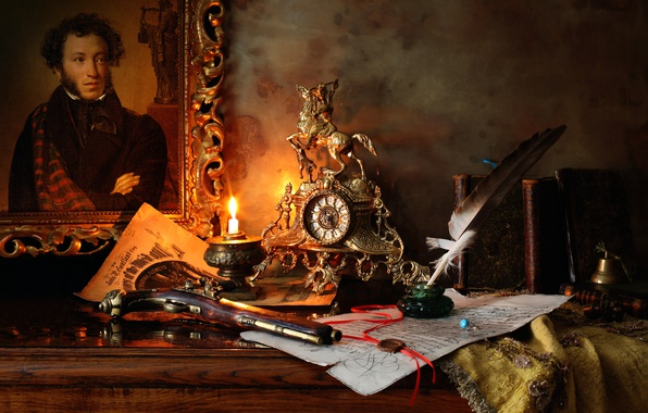 Photo wallpaper gun, ink, the manuscript, Pushkin, pen, picture