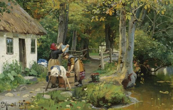 Picture Danish painter, 1883, Peter Merk Of Menstad, Peder Mørk Mønsted, Danish realist painter, Laundry day, …