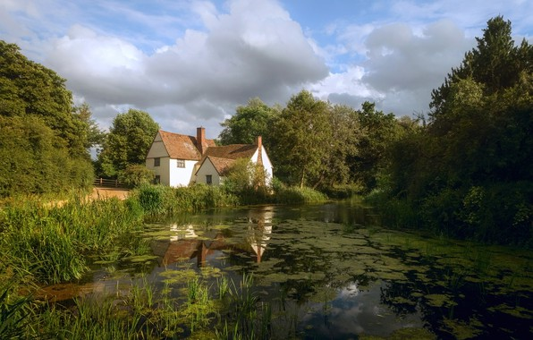 Picture summer, clouds, trees, house, pond, river, house