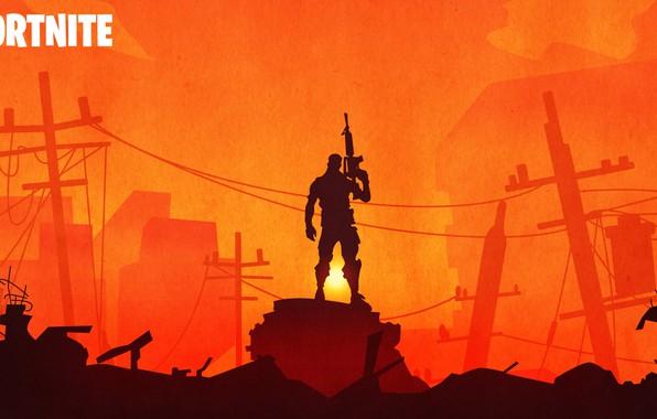 Picture warrior, silhouette, ruins, Fortnite