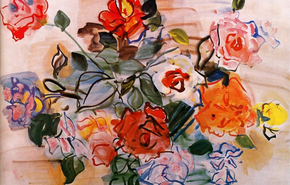 Picture New York, 1940, Raoul Dufy, Watercolor and gouache, Collection Albert D. Lasker, Pink bunch, Bouquet …