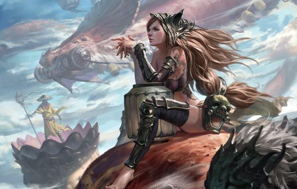 Picture girl, fantasy, armor, long hair, Warrior, tattoo, painting, dragon, digital art, artwork, mask, fantasy art, …