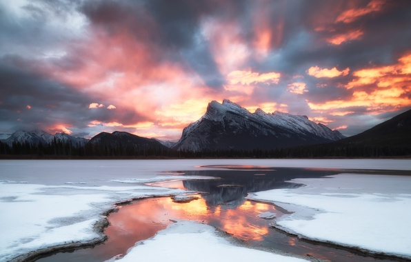 Picture winter, the sky, snow, sunset, mountains, the evening
