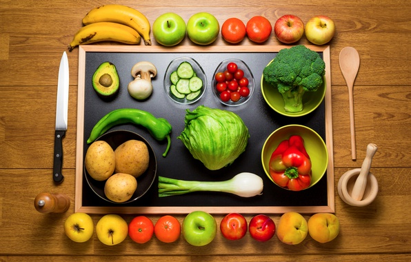 Picture apples, mushrooms, bow, spoon, knife, bananas, pepper, fruit, still life, vegetables, peaches, tomatoes, the view …