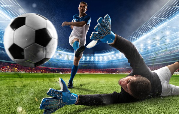 Picture field, grass, lights, lawn, football, the game, shorts, the ball, the situation, blow, gloves, knee, …