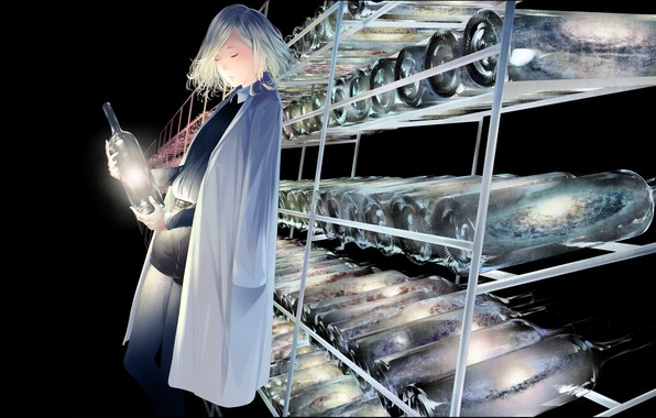 Picture girl, lights, bottle, laboratory, store, supernova, closed eyes, in shorts, white coat, galaxy