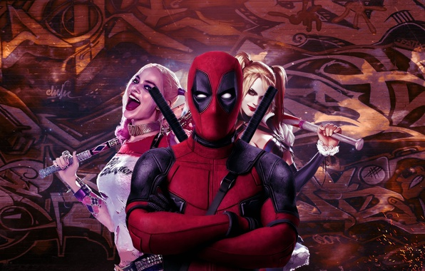 Picture cinema, girl, sword, katana, man, Deadpool, movie, ken, blade, film, mask, strong, Harley Quinn, ninjaken, …
