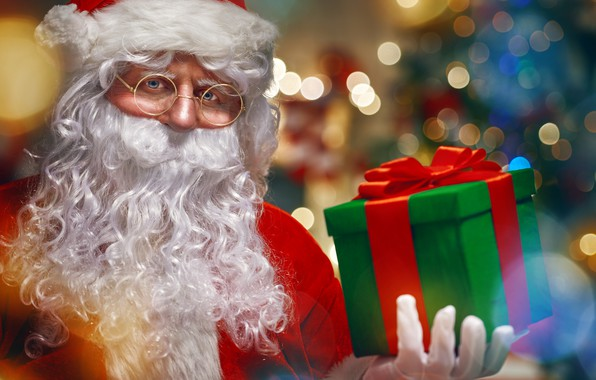 Picture close-up, glare, box, gift, hat, glasses, Christmas, New year, gloves, coat, beard, Santa Claus, bokeh, ...