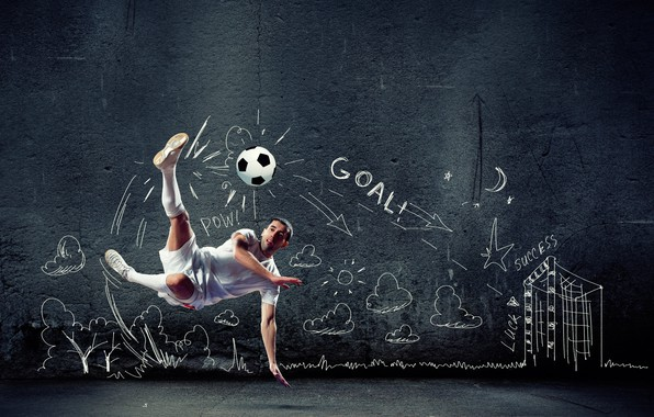 Picture creative, background, wall, jump, football, the game, shorts, the ball, t-shirt, blow, athlete, male, knee, …