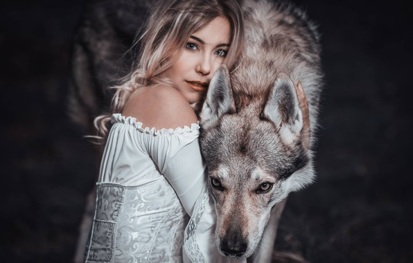 Picture girl, wolf, friends, Cessy We