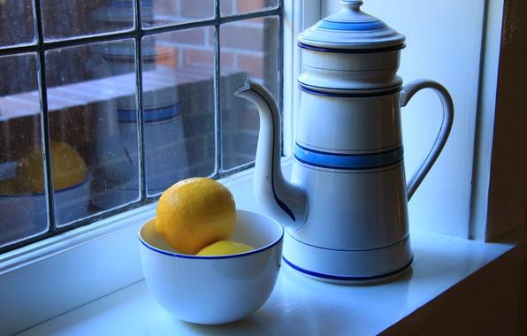 Picture kettle, window, still life, lemons, bowl