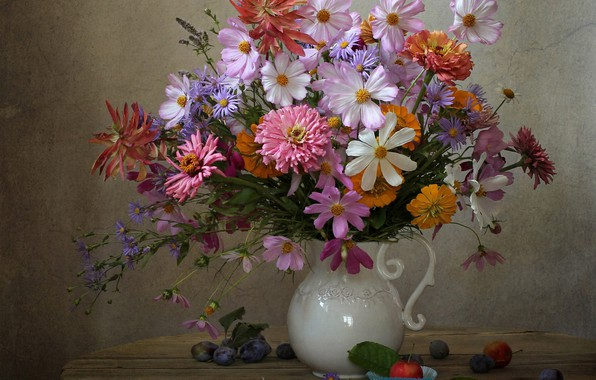 Picture autumn, bouquet, plum, kosmeya, asters, calendula, zinnia