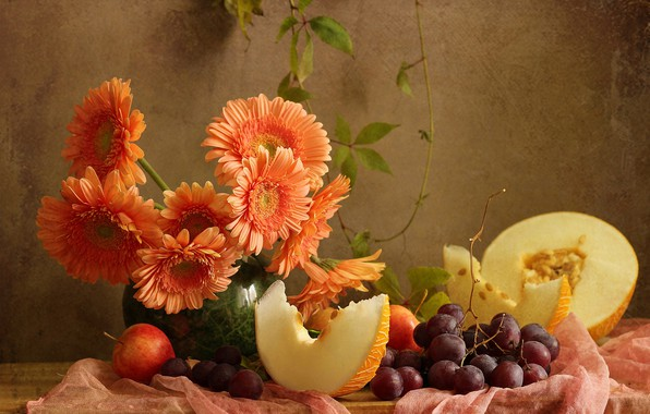 Picture flowers, berries, apples, grapes, fabric, vase, Board, fruit, still life, gerbera, melon