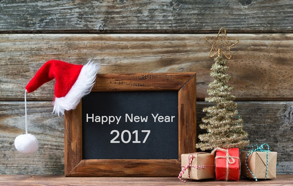 Picture Board, gifts, tree, new year, happy, cap, merry christmas, decoration, 2017