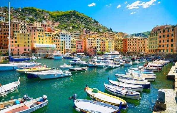 Picture sea, beach, shore, boats, Italy, Italy, travel, Camogli, Liguria, basilica