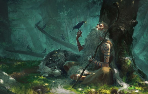 Picture forest, fantasy, art, the elder, the hermit, Manuel Castañón, Little gifts