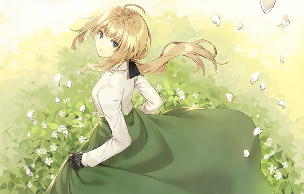 Picture girl, grass, dress, anime, violet evergarden