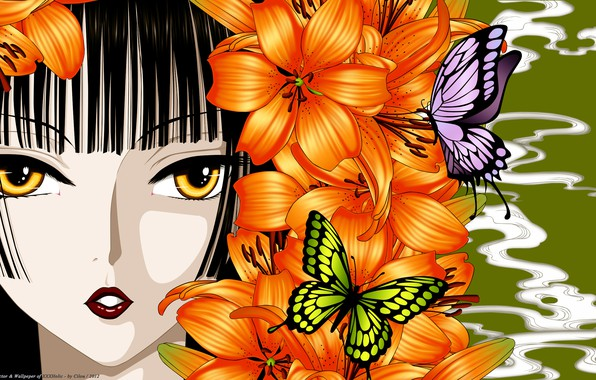Photo wallpaper girl, butterfly, flowers, face, Lily, anime, art, xxxHolic