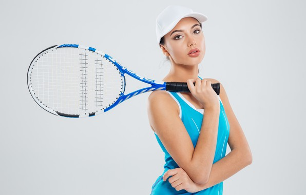 Picture girl, pose, background, sport, racket, cap, athlete, uniform, tennis