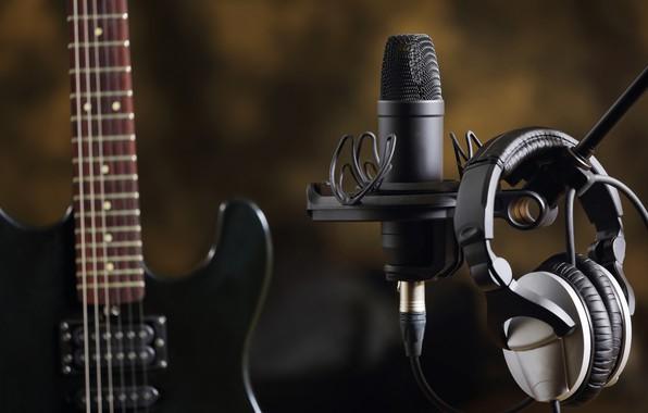 Headphones Music Microphones 4500x4100 Wallpaper: Wallpaper Music, Guitar, Headphones, Sound, Electro