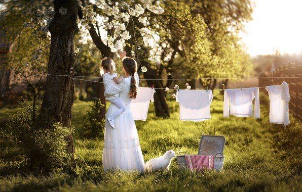Picture cat, nature, woman, linen, child, spring, girl, mom