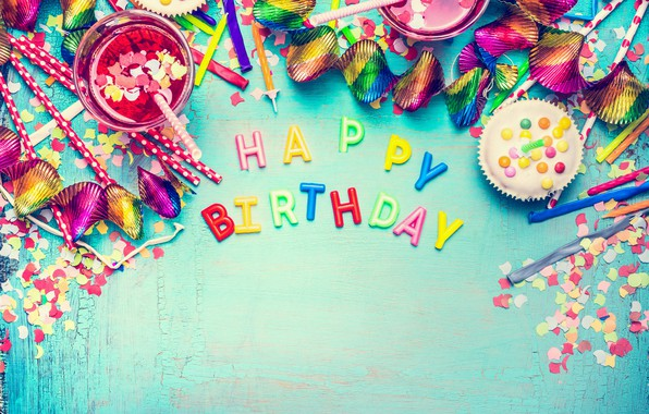 Photo wallpaper sweets, balls, confetti, colours, candy, Birthday, colorful, celebration, decoration, Happy Birthday, candy