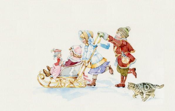 Picture winter, children, mood, the game, art, sled, illustration, children's, Natasha Tabatchikova