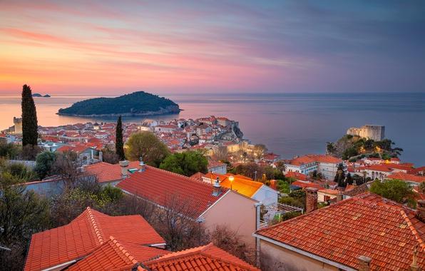 Picture sea, island, building, home, panorama, Croatia, Croatia, Dubrovnik, Dubrovnik, The Adriatic sea, Adriatic Sea
