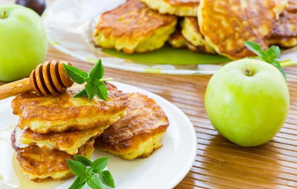 Picture Apple, honey, pancakes