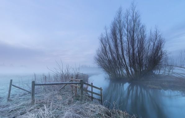 Photo wallpaper frost, fog, river