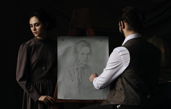 Picture girl, figure, portrait, artist, pencil, creativity