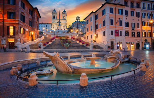 Picture building, home, area, Rome, Italy, ladder, Church, fountain, Italy, Rome, The Spanish steps, Espana, Fontana …