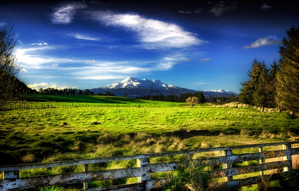 Photo Wallpaper The Sky Grass Clouds Trees Mountains Fence