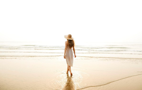 Picture sea, water, girl, hat