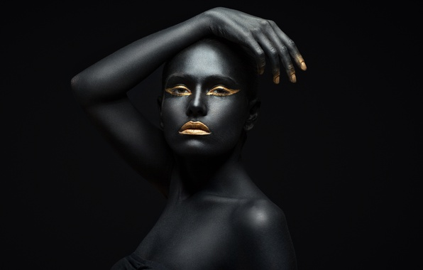 Picture black, fashion, Golden, pose, make up