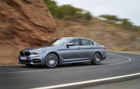 Picture asphalt, grey, movement, speed, BMW, sedan, 540i, 5, M Sport, four-door, 2017, 5-series, G30